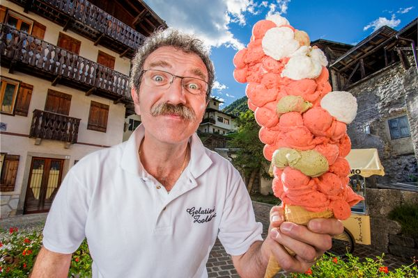 Panciera also holds the record for most ice cream scoops balanced on a cone: 121.
