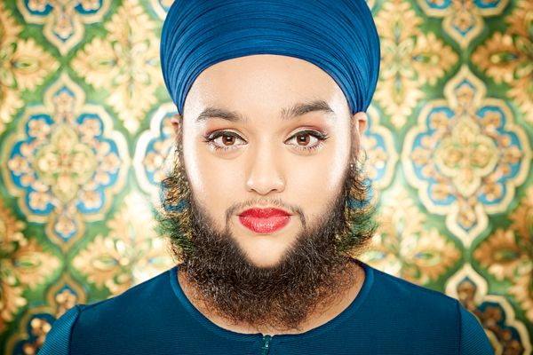 The youngest female with a full beard is 25-year-old Harnaam Kaur of Slough, UK. She was 24 years 282 days when she was confi