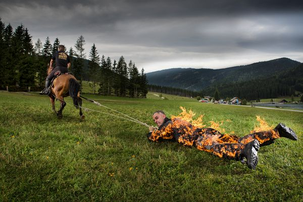 The longest distance for being pulled by a horse while on full body burn is 1,640.42 feet. The record is achieved by stuntman