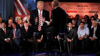 Republican presidential nominee Donald Trump speaks to Matt Lauer during the Commander in Chief Forum in Manhattan, New York, U.S., September 7, 2016.  REUTERS/Mike Segar