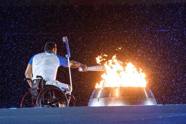 The last torch-bearer lights the Paralympic