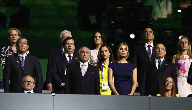Protesters jeered Brazilian President Michel Temer, center, at the Opening Ceremony of the Rio 2016...