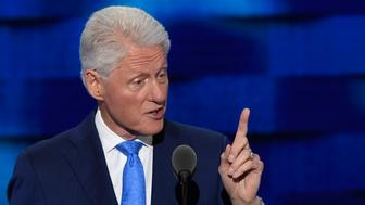 Former US president Bill Clinton addresses the second day of the Democratic National Convention at the Wells Fargo Center, July 26, 2016 in Philadelphia, Pennsylvania.      / AFP / SAUL LOEB        (Photo credit should read SAUL LOEB/AFP/Getty Images)