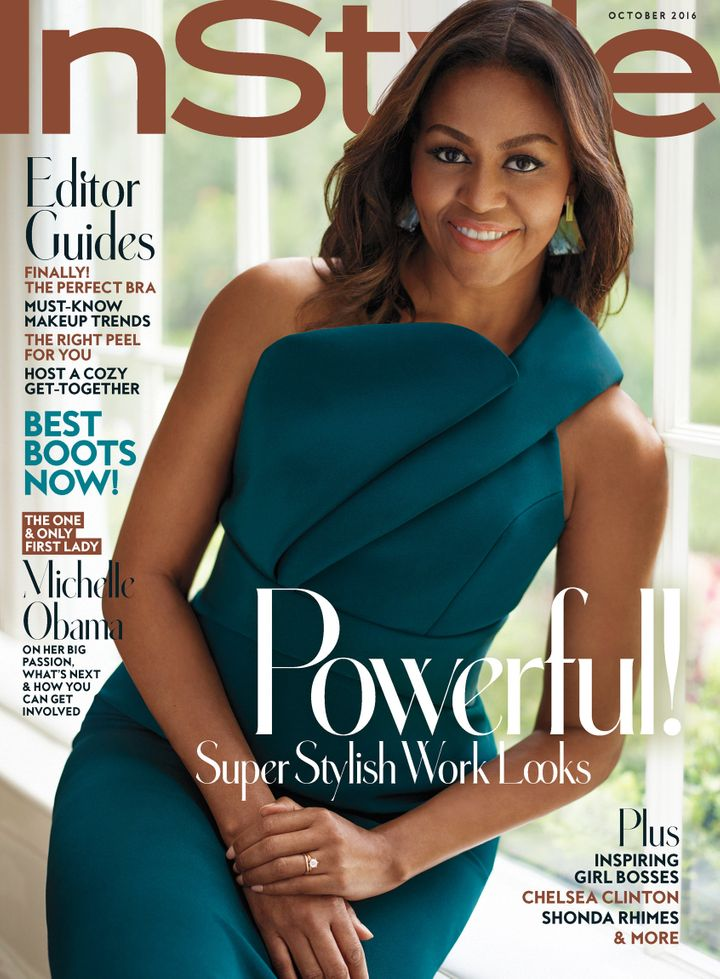 Michelle Obama wears a Brandon Maxwell dress on the cover of InStyle.
