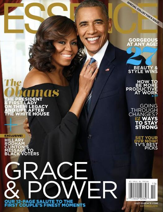 """The first couple grace the cover of the October issue of """"Essence."""""""