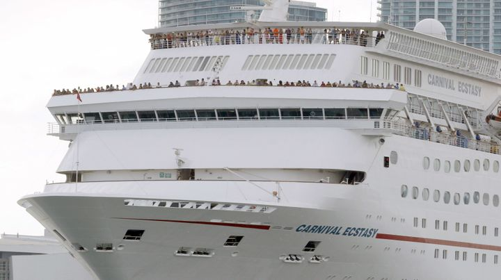 A 32-year-old passenger aboard the Carnival cruise ship Ecstasy, pictured here, fell overboard southwest of the Bahamas on We