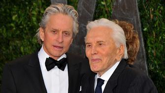 Michael and Kirk Douglas arriving at the 2012 Vanity Fair Oscar Party, hosted by Graydon Carter, held at the Sunset Tower Hotel in Los Angeles, CA on February 26, 2012.