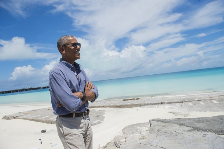 Obama tours Midway Atoll on Sept. 1, 2016. The coral reef is one of the most remote places on the planet.