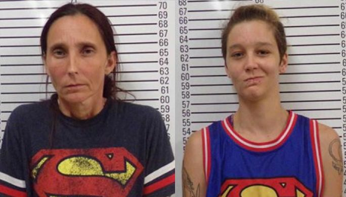 Bad romance: Patricia Ann Clayton Spann, 43, and Misty Spann, 25, are facing incest charges following their March wedding.
