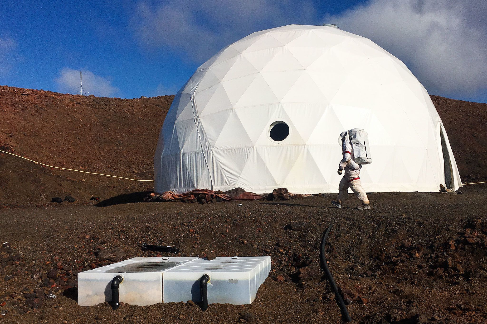 Your home away from home is a large dome, from which you will not exit without a space suit.