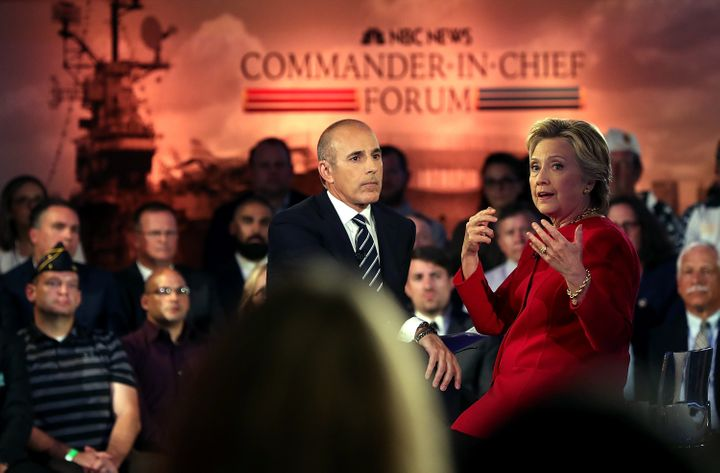Hillary Clinton speaks during the NBC News Commander-in-Chief forum on September 7, 2016 in New York City.