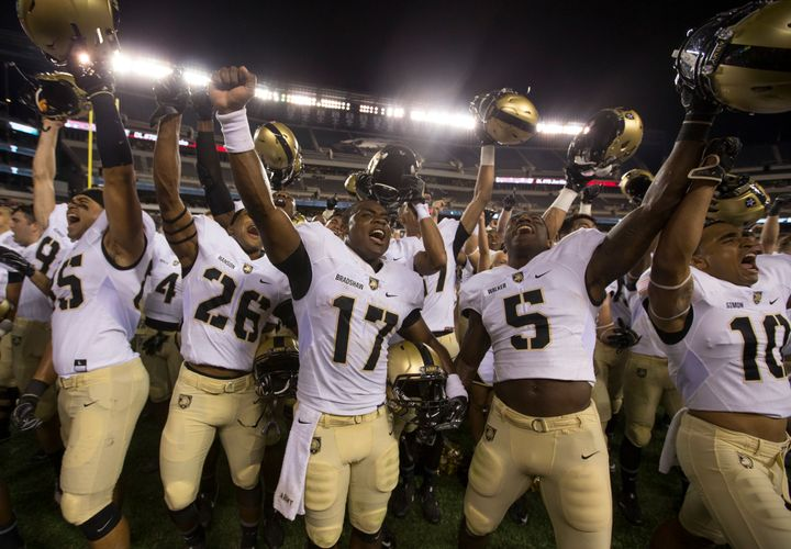 Army Black Knights playerscelebrate after thegame against the Temple Owls at Lincoln Financial Field on Sept.&nbs