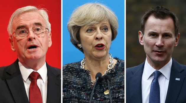John McDonnnell, Theresa May and Jeremy Hunt are among the
