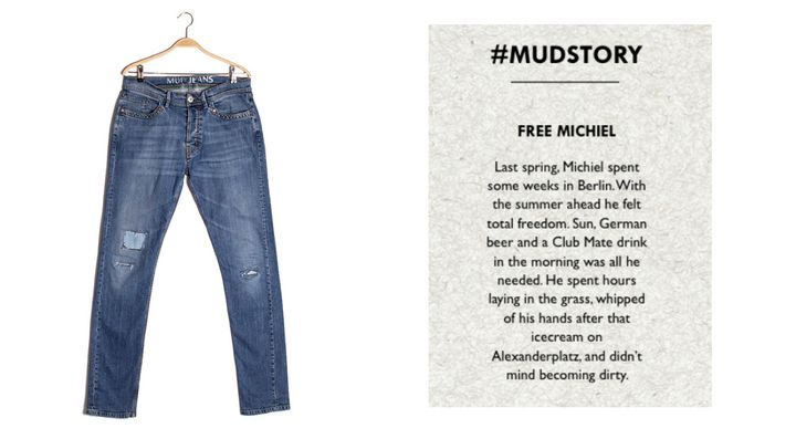 One of the stories attached to a pre-owned pair of Mud Jeans.
