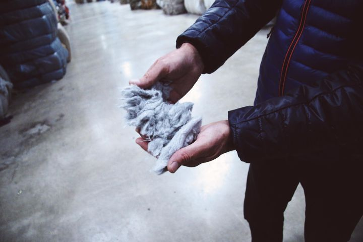 Fibers made from denim.