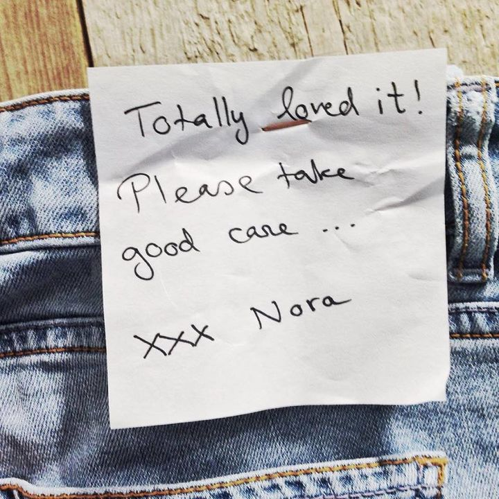 A note left from a customer who rented a pair of Mud pants and returned it after a year.