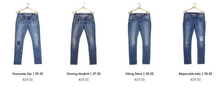 """Mud's """"vintage"""" pre-owned jeans."""