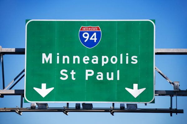 Minneapolis and St Paul highway sign