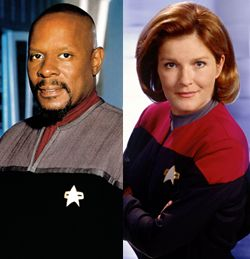 Captain Benjamin Sisko (played by Avery Brooks) and Captain Kathryn Janeway (played by Kate Mulgrew)