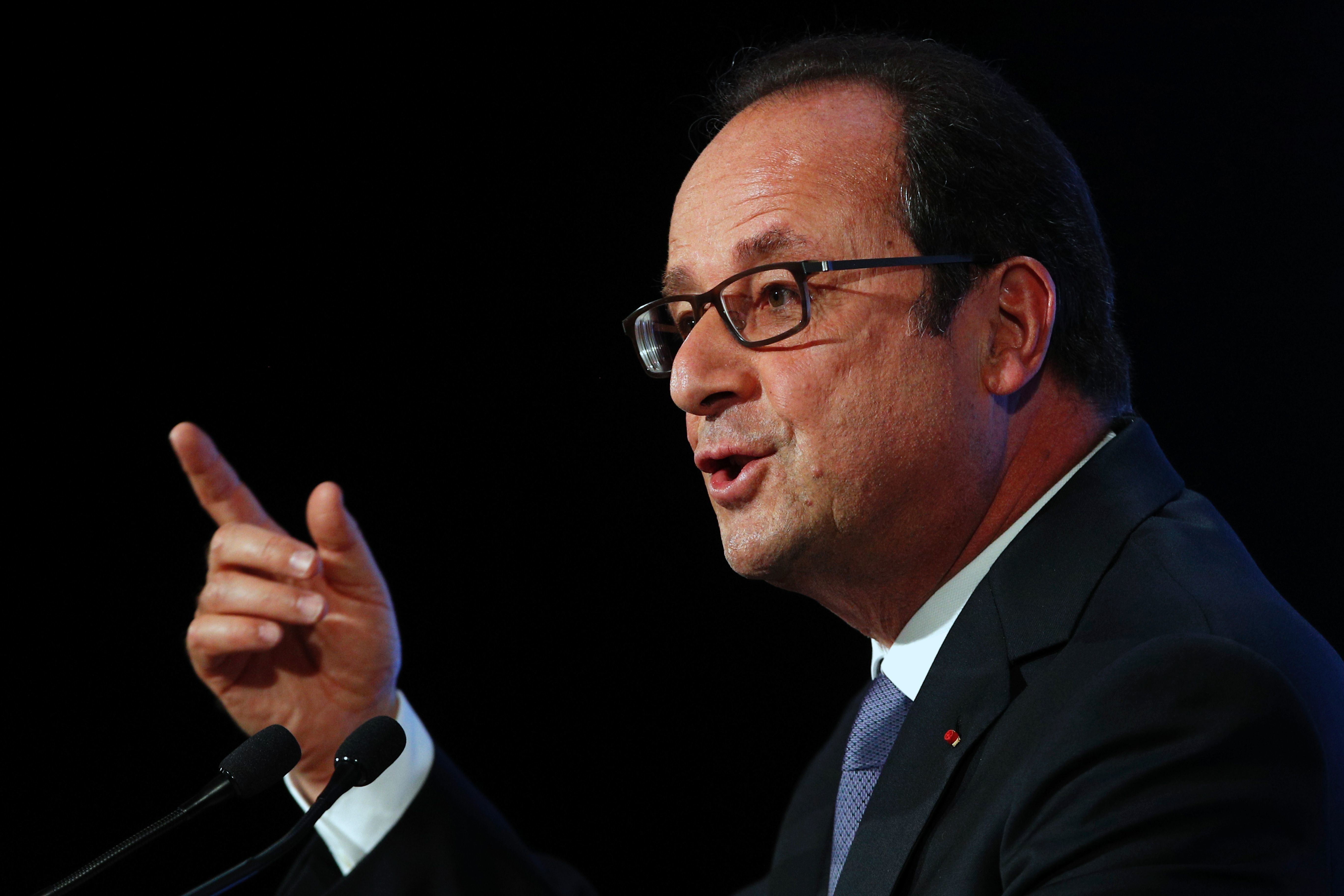 French President Francois Hollande delivers a speech about democracy and terrorism on September 8, 2016 in Paris. President Francois Hollande insisted on September 8, 2016, that France's strict laws separating church and state did not mean the country's large Muslim minority could not practise their religion. In a speech on terrorism and democracy coming hot on the heels of a debate on the banning of the Islamic burkini swimsuit, Hollande said: 'Nothing in the idea of secularism opposes the practise of Islam in France, provided it respects the law.'  / AFP / POOL / Christophe Ena        (Photo credit should read CHRISTOPHE ENA/AFP/Getty Images)