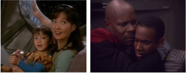 Keiko O'Brien (played by Rosalind Chao) / Benjamin Sisko (played by Avery Brooks) and Jake Sisko (played by Cirroc Lofton)