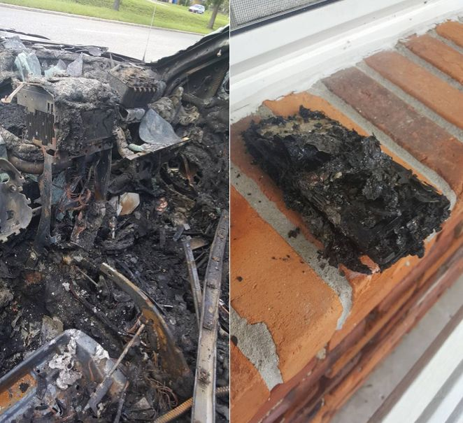 The burned remains of Nathan Dornacher's Jeep and Galaxy smartphone.