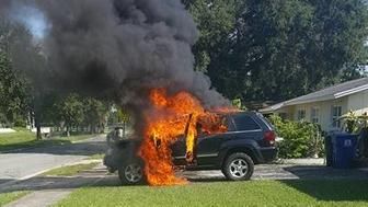 Nathan Dornacher who owned a Samsung Galaxy Note 7 shared photos of his Jeep burning Monday