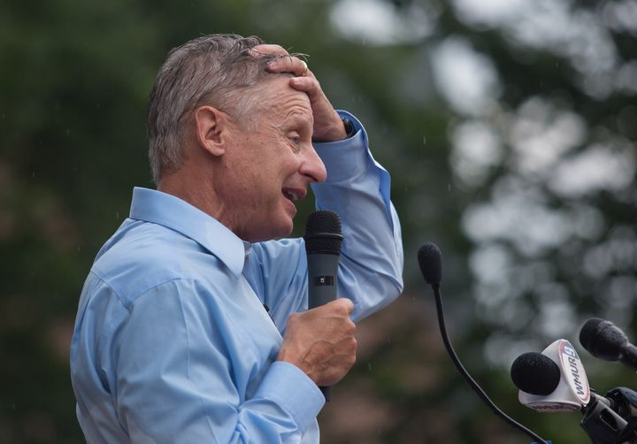 Libertarian candidate for President Gary Johnson speaks at a rally outside the New Hampshire State House in Concord, N.H.
