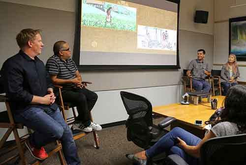 (L-R) Jared Bush (Screenwriter), Dave Pimentel (Head of Story), David Derrick (Story Artist) and Sunmee Joh (Story Artist) sh
