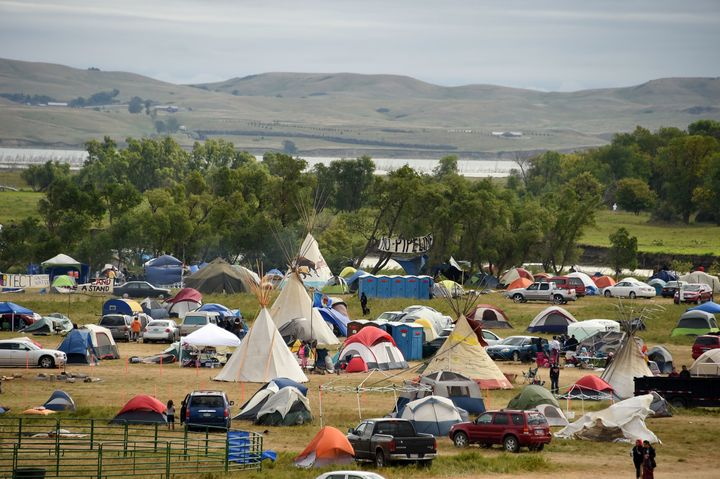 The Missouri River is seen beyond an encampment on Sept. 4 near Cannon Ball, North Dakota, where hundreds of people have gath