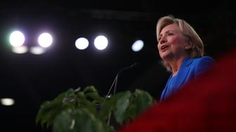KANSAS CITY, MO - SEPTEMBER 08:  Democratic presidential Secretary of State Hillary Clinton speaks during the 136th annual session of the National Baptist Convention on September 8, 2016 in Kansas City, Missouri. Clinton is campaigning in North Carolina and Missouri.  (Photo by Justin Sullivan/Getty Images)