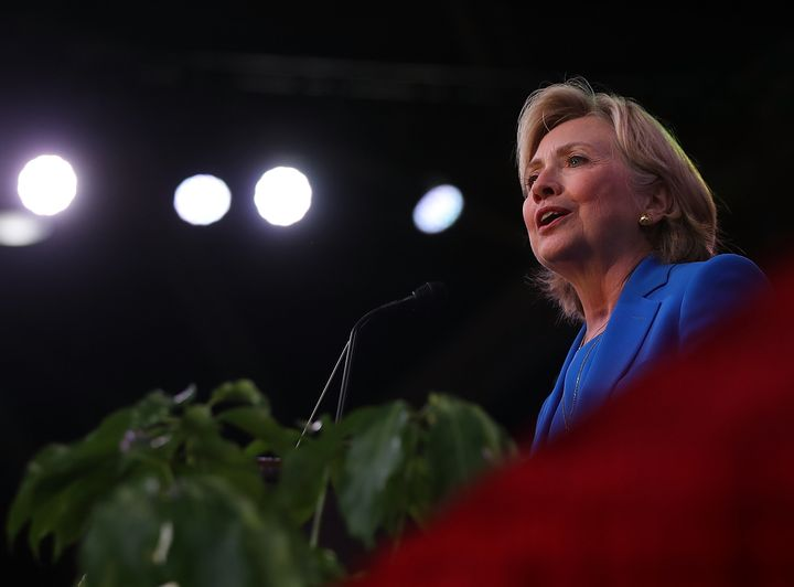 Hillary Clinton speaks during the 136th annual session of the National Baptist Convention on September 8, 2016 in Kansas City