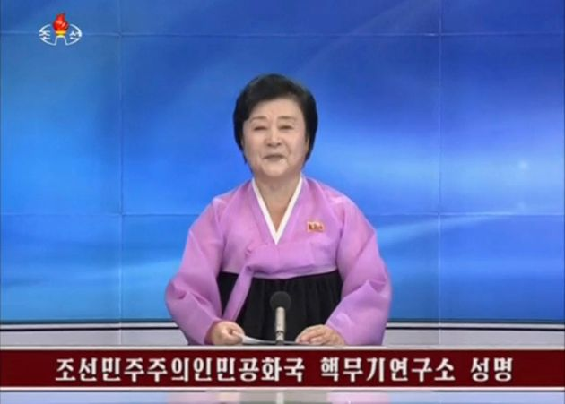KRT newscaster confirming that North Korea has conducted a nuclear test in this still image taken from...