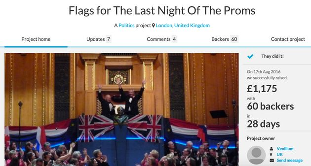 The Crowdfunder page raising money to buy EU flags to display at the Last Night Of The