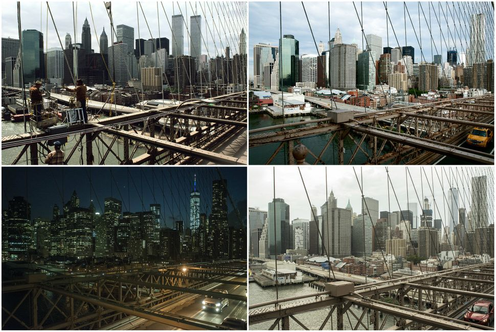 The Manhattan skyline, seen from the Brooklyn Bridge in 1985, 2011, 2015 and 2016.