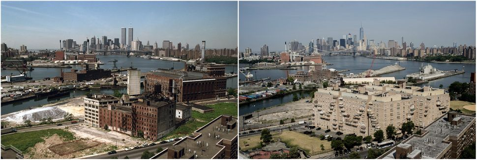 Manhattan, seen from Brooklyn in 1990 and 2016. Vergara shot the photos looking southwest from the Independence Houses a