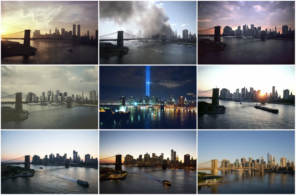 View of Lower Manhattan from the Manhattan Bridge, in 1979, 2001 (two photos), 2002, 2010 (two photos), 2012, 2014 and 2016.