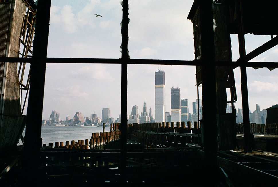 Lower Manhattan, as seen from an abandoned pier in Jersey City, New Jersey, in 1970.