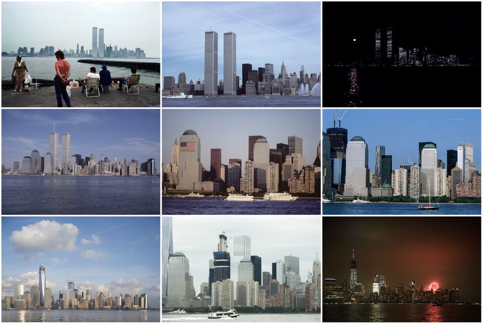 Lower Manhattan from Exchange Place, Jersey City, New Jersey, in 1977, 1978, 1980, 1989, 2001, 2011, 2013 and 2016 (two photo