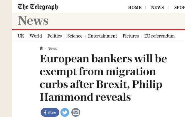 No, Philip Hammond Isn't Giving Bankers 'Special Exemption' From EU Migration