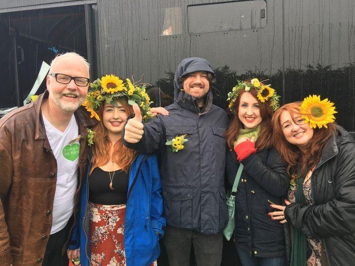 Left to right:Iain Kelly, Elaina Kelly, Danny McNamara (from the band Embrace), Stephanie Kelly and Maureen O'Kelly