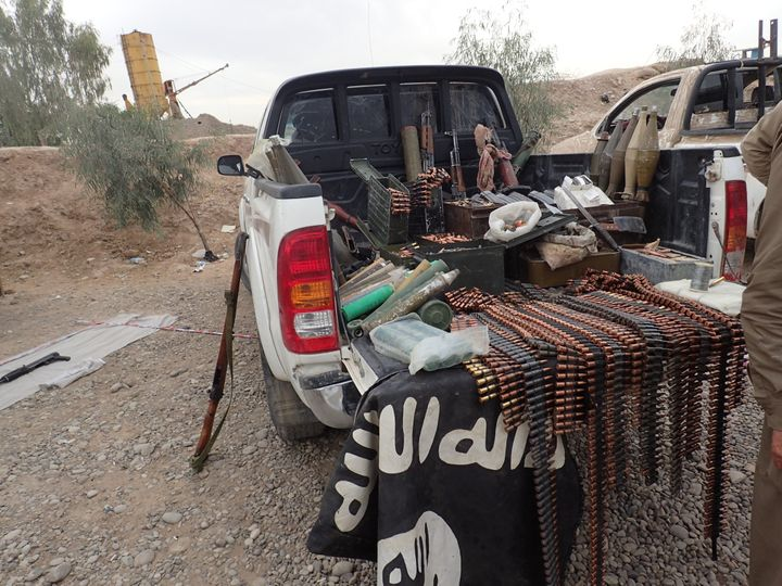 Weapons found in a truck belonging to Islamic State.