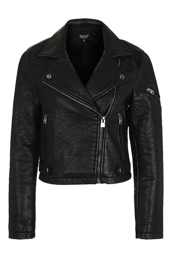 "<a href=""http://us.topshop.com/en/tsus/product/faux-leather-biker-jacket-5845385"" target=""_blank"">Topshop</a> Faux Leather Bi"