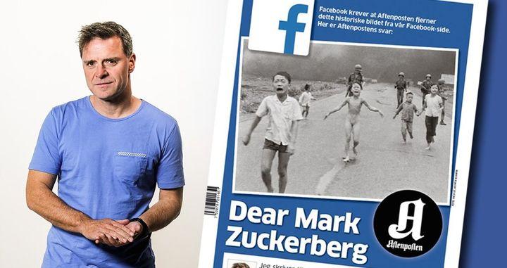 Espen Egil Hansen stands next to a copy of his open letter to Mark Zuckerberg.