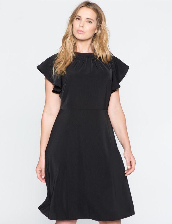 """<a href=""""http://www.eloquii.com/flutter-sleeve-a-line-dress/12330051000014.html"""" target=""""_blank"""">Eloquii</a> Flutter Sleeve A"""