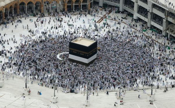 Muslim pilgrims from all around the world circle around the Kaaba at the Grand Mosque, in the Saudi city of Mecca.