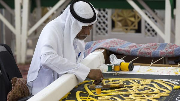 Kiswah, the cloth that covers the Kaaba, is being prepared with 670 kg pure silk, 120 kg gold and silver in Mecca, Saudi Arab