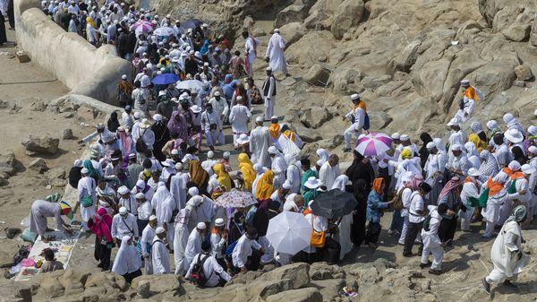 Muslim pilgrims visit Mount Arafat, also called Jabal al-Rahmah (Mount of Mercy).