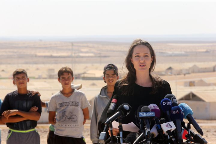 AZRAQ, JORDAN - SEPTEMBER 09: US actress and UNHCR special envoy and Goodwill Ambassador Angelina Jolie holds a press confere