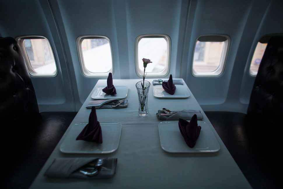 A table setting inside the restaurant.